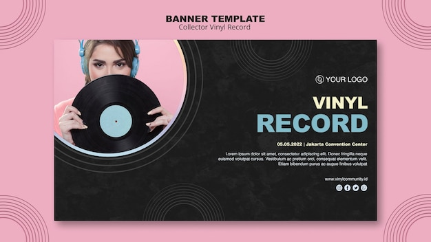 Modèle de bannière de disque vinyle