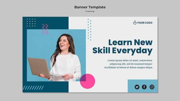 Modèle de bannière avec e-learning