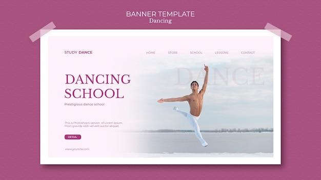 Modèle de bannière école de danse homme avec mouvements