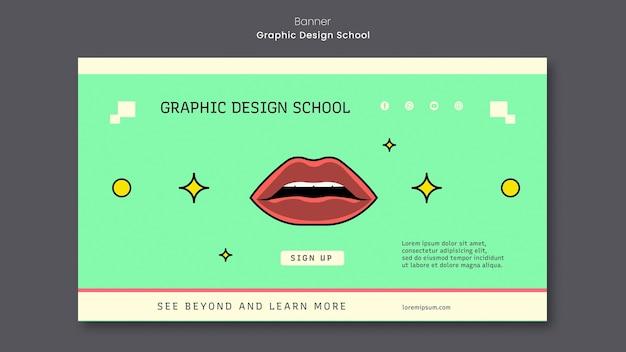 Modèle de bannière d & # 39; école de design graphique