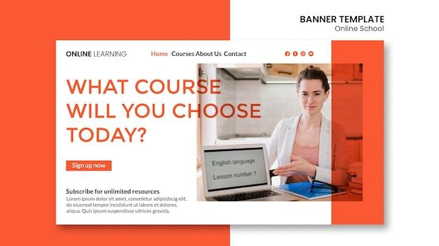 Modèle de bannière d'école en ligne