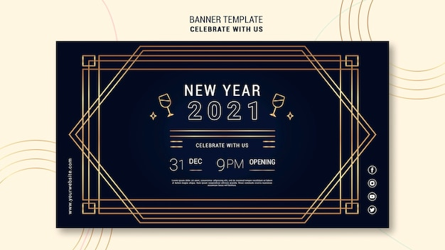 Modèle de bannière élégant pour la fête du nouvel an
