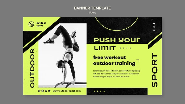 Modèle de bannière d'entraînement en plein air gratuit
