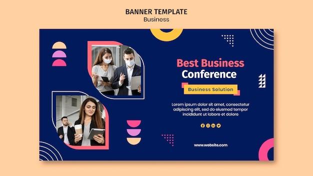 Modèle de bannière d'entreprise avec des formes colorées