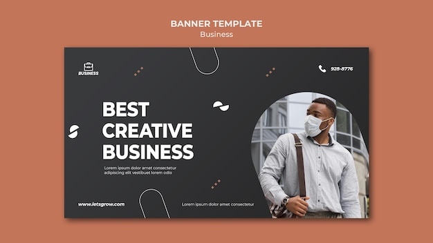 Modèle de bannière d'entreprise avec photo
