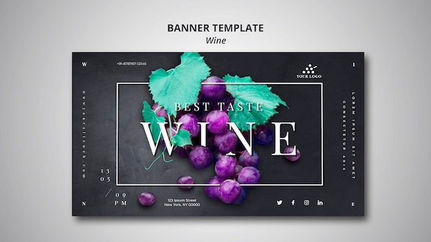Modèle de bannière entreprise vinicole