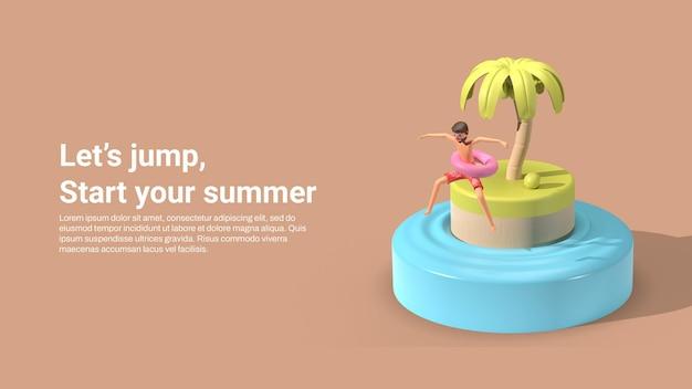 Modèle de bannière d'été avec l'homme 3d sauter dans la mer
