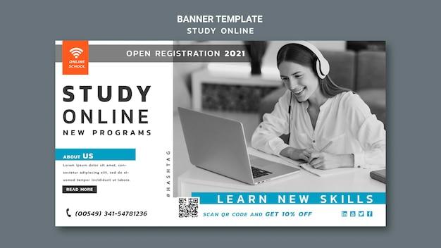 Modèle De Bannière D'étude En Ligne Psd gratuit