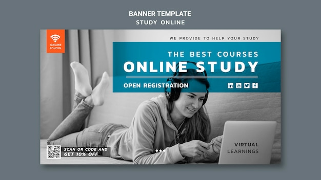Modèle de bannière d'étude en ligne