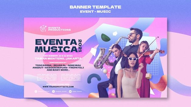 Modèle de bannière d'événement musical dans un style rétro