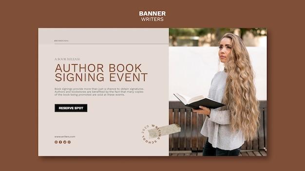 Modèle de bannière d'événement de signature de livre d'auteur