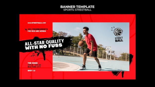 Modèle de bannière d'événement de streetball