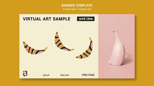 Modèle de bannière d'exposition d'art inspiré du contraste