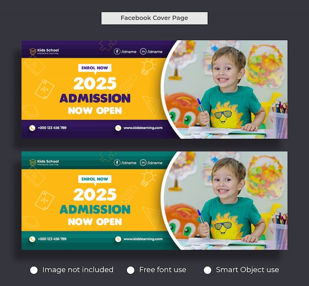Modèle de bannière facebook cover & web pour l'admission scolaire des enfants