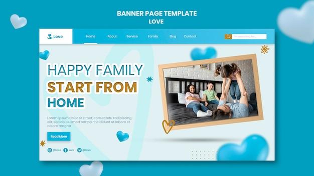 Modèle de bannière de famille heureuse