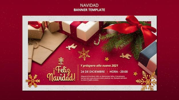 Modèle de bannière feliz navidad