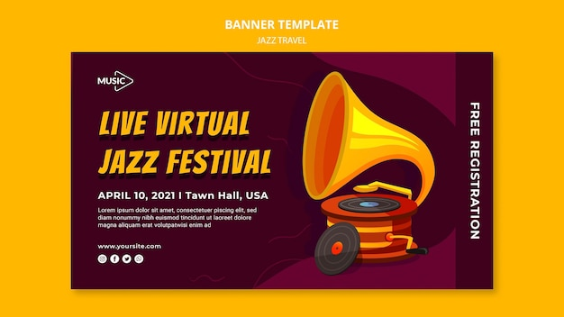 Modèle de bannière de festival de jazz virtuel en direct