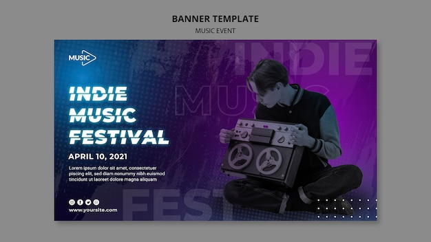 Modèle de bannière de festival de musique indépendante