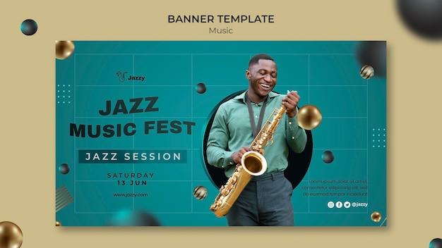 Modèle de bannière de festival de musique jazz