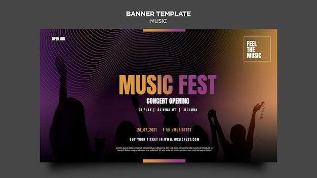 Modèle de bannière de festival de musique