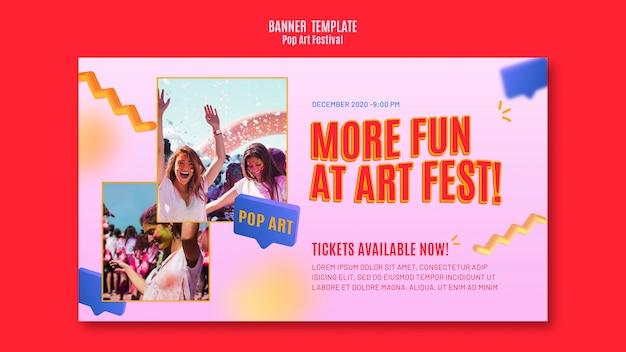 Modèle de bannière de festival pop art
