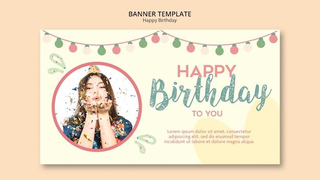 Modèle de bannière de fête d'anniversaire avec photo