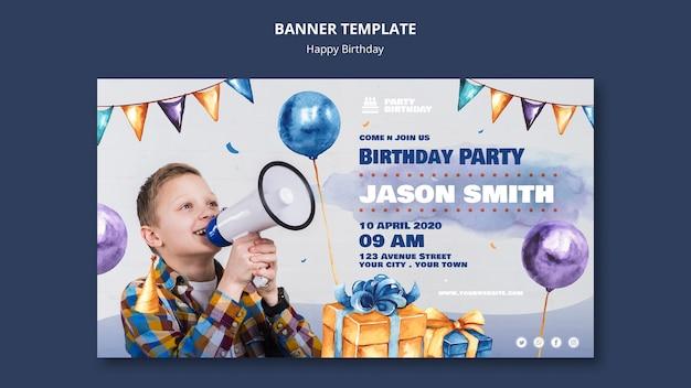 Modèle de bannière avec fête d'anniversaire
