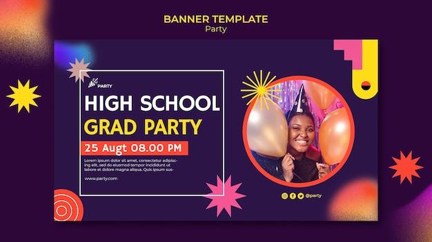 Modèle de bannière de fête des diplômés