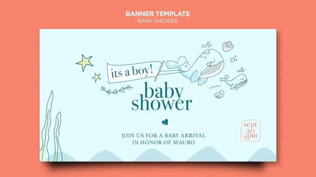 Modèle de bannière de fête de douche de bébé