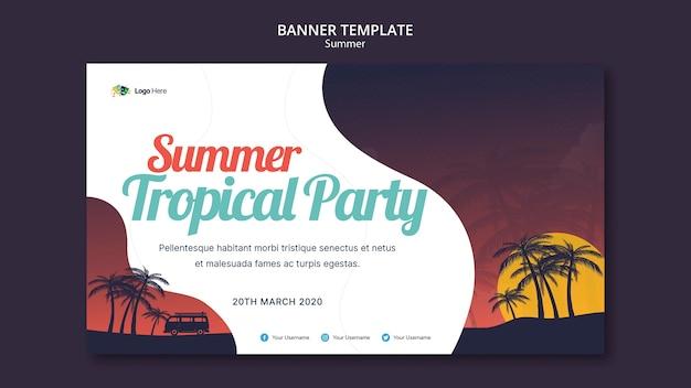 Modèle de bannière de fête d'été