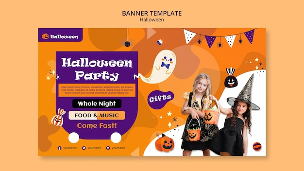 Modèle de bannière de fête d'halloween