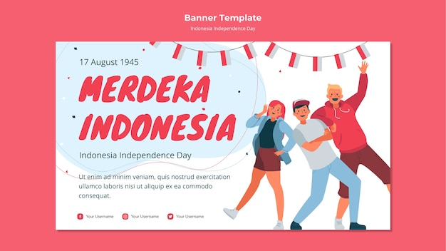 Modèle de bannière de fête de l'indépendance de l'indonésie
