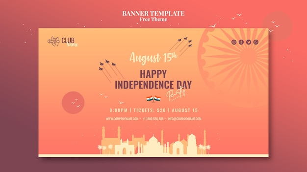 Modèle de bannière de fête de l'indépendance