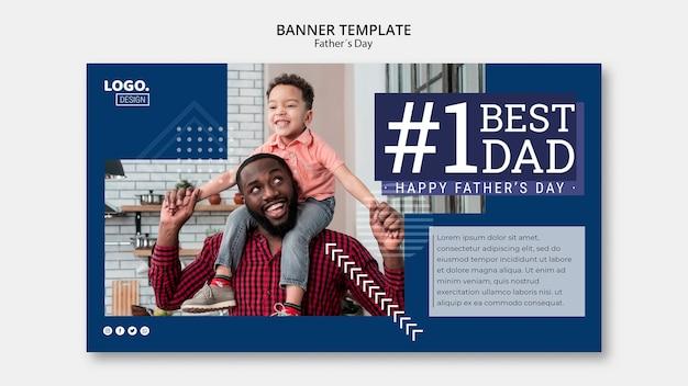 Modèle de bannière de fête des pères heureux