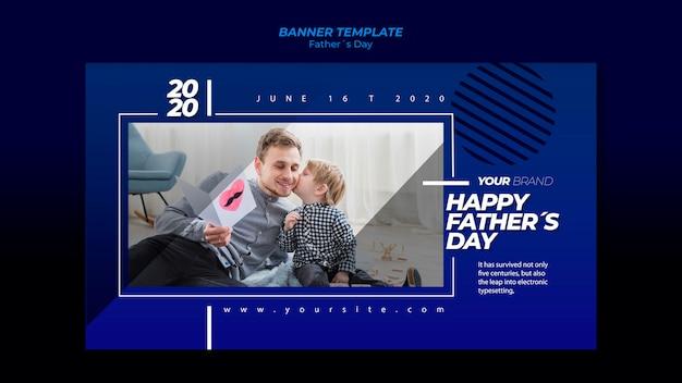 Modèle de bannière de fête des pères avec père et fils