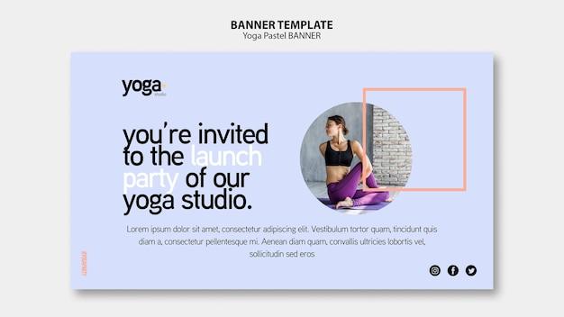 Modèle de bannière de fête de studio de yoga