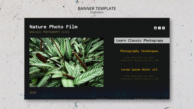 Modèle de bannière de film photo nature