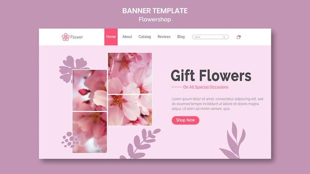 Modèle de bannière de fleurs de cadeau