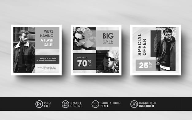 Modèle de bannière de flux de médias sociaux instagram noir et blanc minimaliste