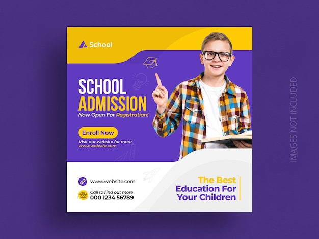 Modèle de bannière et de flyer carré pour l'admission à l'éducation scolaire