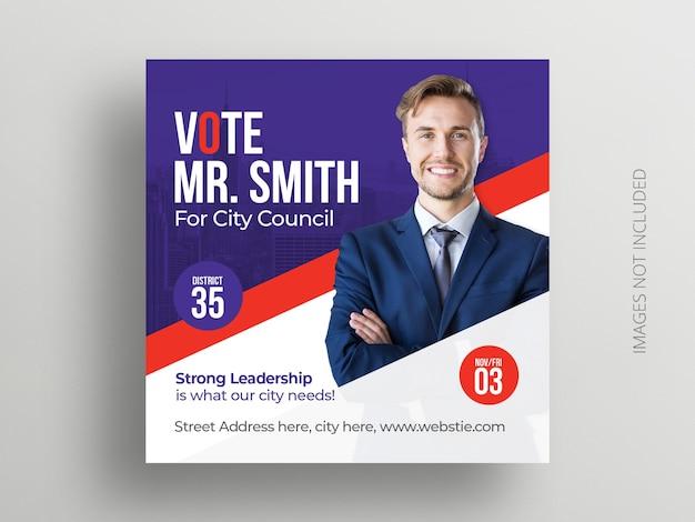 Modèle de bannière et de flyer carré pour les élections politiques sur les médias sociaux