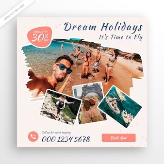 Modèle de bannière ou de flyer carré de voyage instagram