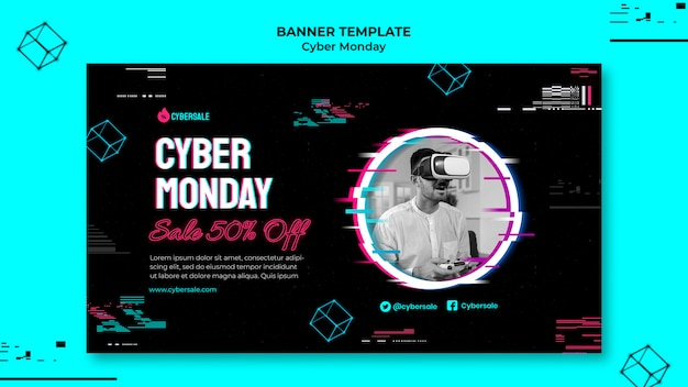 Modèle de bannière futuriste du cyber lundi