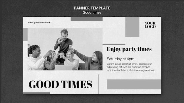 Modèle de bannière good times