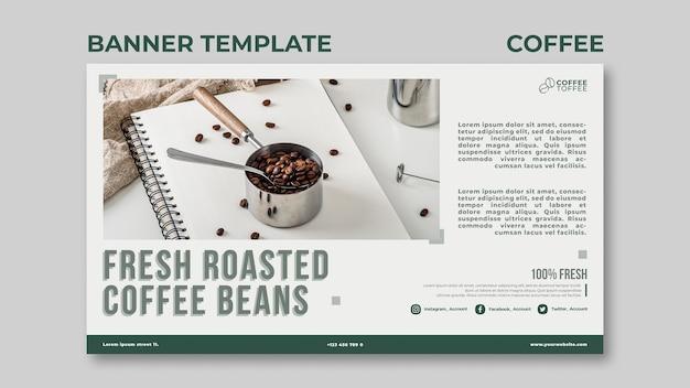 Modèle de bannière de grains de café torréfiés frais