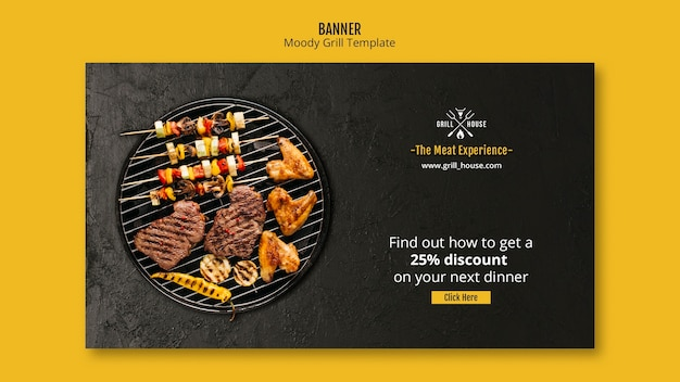 Modèle de bannière de grill moody