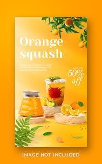 Modèle de bannière d'histoire instagram de médias sociaux de promotion de menu de boisson de courge orange