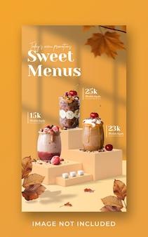 Modèle de bannière d'histoire instagram de médias sociaux promotion de menu de boisson spéciale