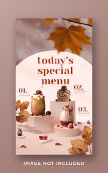 Modèle de bannière d'histoire instagram de médias sociaux de promotion de menu de boissons spéciales
