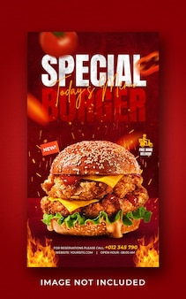 Modèle de bannière d'histoire instagram de médias sociaux de promotion de menu de nourriture burger